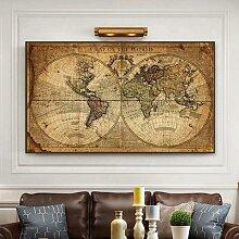 Toile de peinture rétro une carte du monde,