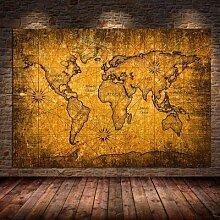 Toile de peinture Vintage carte du monde, affiches