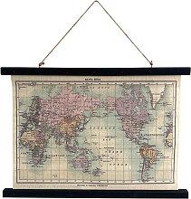 Toile déco carte du monde à suspendre 60x43cm