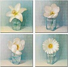 Toile Fleur Vintage 4 Panneaux | Wall Art