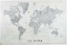 Toile imprimé carte du monde grise et