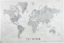 Toile imprimé carte du monde grise et blanche
