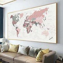Toile imprimée de la carte du monde de grande