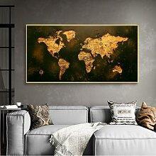 Toile moderne de carte du monde en or Vintage,