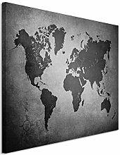 Toile murale 50 x 70 cm - Motif carte du monde -
