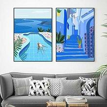 Toile murale de paysage d'océan, image de