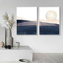 Toile Peinture Bleu Rose Or Abstrait Coucher De