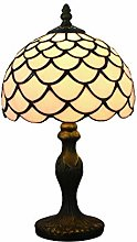 Tokira Lampe de Table Tiffany Blanc 8 Pouces,