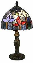 Tokira Lampe Tiffany Rouge Fleurs, Style Ferme
