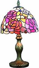Tokira Tiffany Style Lampe de Table Rose Rouge,