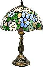 Tokira Vintage Tiffany Lampe de Table Bleu Fleurs,
