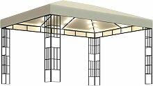 Tonnelle avec guirlande lumineuse à LED 3x4 m
