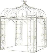 Tonnelle de jardin carrée en fer blanche 320x220