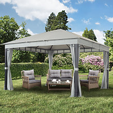 Tonnelle de jardin Sunset Premium, gris perle, 4x4m
