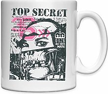 Top Secret Skull Pop Art Tasse en céramique