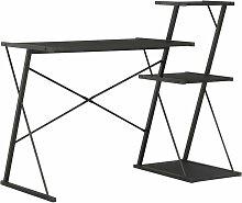 Topdeal Bureau avec étagère Noir 116x50x93 cm