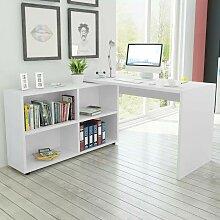Topdeal Bureau d'angle 4 étagères blanc
