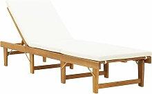 Topdeal Chaise longue pliante avec coussin Bois