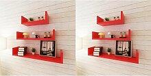 Topdeal étagères murales 6 pcs Rouge