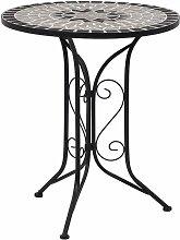 Topdeal Table de bistro mosaïque Gris 61 cm
