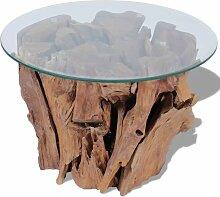 Topdeal VDTD09830_FR Table basse Teck massif 50 cm