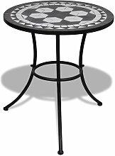 Topdeal VDTD26558_FR Table de bistro Noir et blanc
