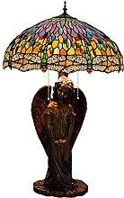 TOPNIU Lampes de Table en Verre taché Vert pâté