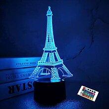 Tour Eiffel Veilleuse 3D Illusion Lampe Visual