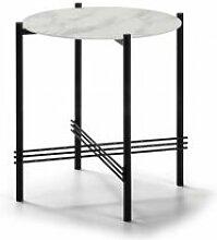 Tousmesmeubles Table d'appoint marbre blanc