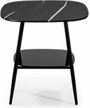Tousmesmeubles Table d'appoint Marbre noir