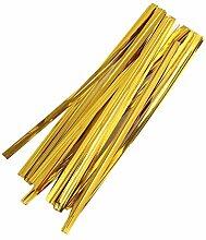 TOYANDONA 800 Pcs Gold Twist Ties Bread Candy Bag