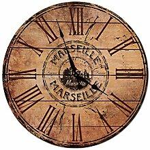 Tr73ans Marseille Horloge murale en bois