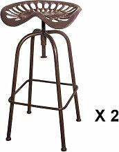 TRACTEUR - 2 tabourets de bar rotatif en acier