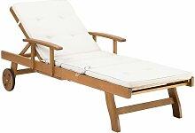 Transat inclinable en bois avec coussin blanc