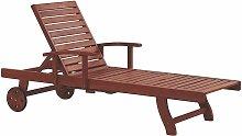 Transat inclinable en bois foncé avec tablette et
