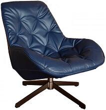 TREK - Fauteuil moderne aspect cuir bleu