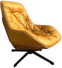 TREK - Fauteuil moderne aspect cuir jaune
