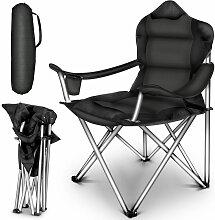 TRESKO Chaise de camping pliante NOIR  