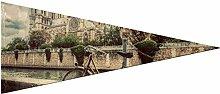 Triangle drapeau bannière vélo rétro à côté