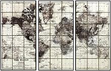 Triptyque carte du monde en céramique noire