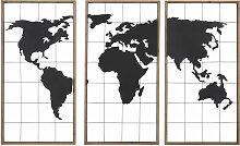 Triptyque carte du monde en métal noir et sapin