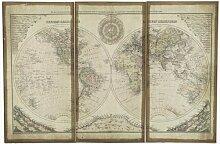 Triptyque planisphère du monde 80 x 120 cm