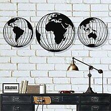 Trois globes en métal - Carte du monde ronde en