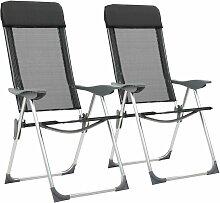 True Deal - Chaise pliante de camping 2 pcs Noir