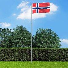 True Deal - Drapeau Norvège et mât en aluminium