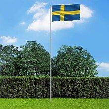 True Deal - Drapeau Suède et mât en aluminium 6 m