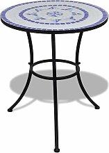 True Deal - Table de bistro Bleu et blanc 60 cm