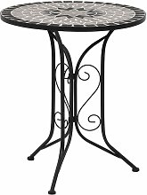 True Deal - Table de bistro mosaïque Gris 61 cm
