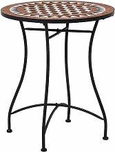 True Deal - Table de bistro mosaïque Marron 60 cm