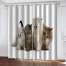 TTBBBB Rideau Chambre Fille Chaton Animal L 150 x